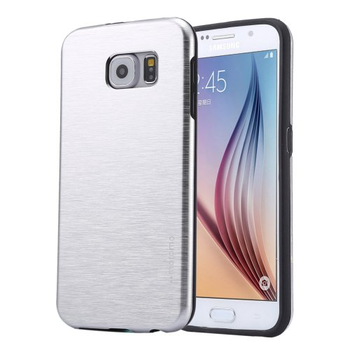 For Galaxy S6 Silver MOTOMO Brushed Texture Metal + TPU Protective Case