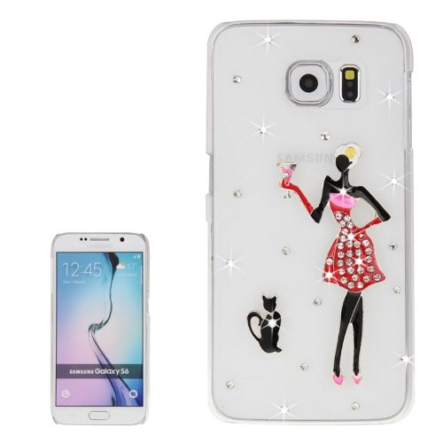 For Galaxy S6 Transparent Diamond Encrusted Fashion Pattern Protective Case