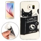 For Galaxy S6 Black Cat Words Pattern TPU Protective Case