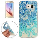 For Galaxy S6 Blue Leaves Pattern TPU Protective Case