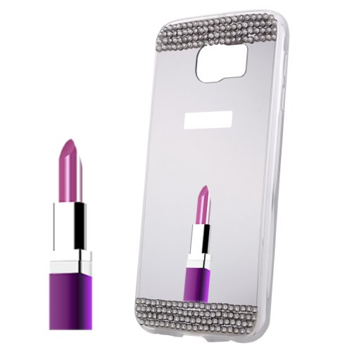 For Galaxy S6 White Diamond Encrusted Mirror TPU Protective Case