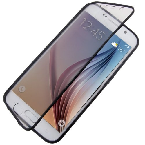 For Galaxy S6 Black PC Front Cover + TPU Back Cover Protective Case