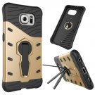 For Galaxy S6 Gold Rotating Tough Armor TPU+PC Combination Case & Holder
