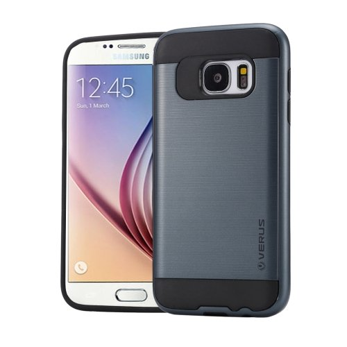 For Galaxy S6 Dark Blue Brushed Texture PC + TPU Protective Case