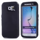 For Galaxy S6 Black 3 in 1 Hybrid Silicon & Plastic Protective Case