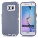For Galaxy S6 Grey 3 in 1 Hybrid Silicon & Plastic Protective Case