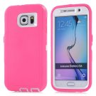 For Galaxy S6 Magenta 3 in 1 Hybrid Silicon & Plastic Protective Case