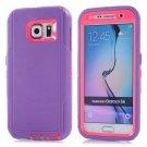 For Galaxy S6 Purple+Magenta 3 in 1 Hybrid Silicon & Plastic Protective Case
