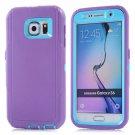 For Galaxy S6 Purple+Blue 3 in 1 Hybrid Silicon & Plastic Protective Case
