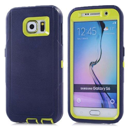For Galaxy S6 Dark Blue+Green 3 in 1 Hybrid Silicon & Plastic Protective Case