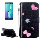 For Galaxy S6 Edge+ Black Diamond Leather Case with Holder, Card Slots & Wallet