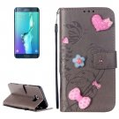 For Galaxy S6 Edge+ Grey Diamond Leather Case with Holder, Card Slots & Wallet
