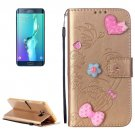 For Galaxy S6 Edge+ Gold Diamond Leather Case with Holder, Card Slots & Wallet
