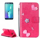 For Galaxy S6 Edge+ Magenta Diamond Leather Case with Holder, Card Slots & Wallet
