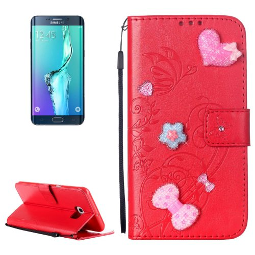 For Galaxy S6 Edge+ Red Diamond Leather Case with Holder, Card Slots & Wallet
