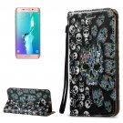 For Galaxy S6 Edge+ 3D Relief Skull Leather Case with Holder, Card Slots & Lanyard