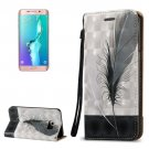 For Galaxy S6 Edge+ 3D Feather Leather Case with Holder, Card Slots & Lanyard