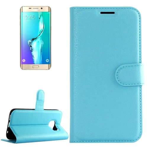 For Galaxy S6 Edge+ Blue Litchi Leather Case with Holder, Card Slots & Wallet