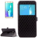For Galaxy S6 Edge+ Black Argyles Leather Case with Card Slot & Call Display ID