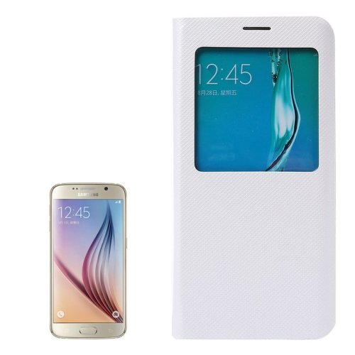 For Galaxy S6 Edge+ White Litchi Leather Case with Sleep / Wake-up Function