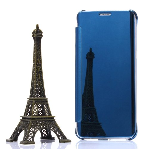 For Galaxy S6 Edge+ Baby Blue Electroplating Mirror Horizontal Flip Leather Case