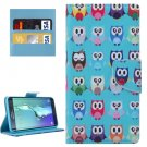 For Galaxy S6 Edge+ Owls Pattern Leather Case with Holder, Card Slots & Wallet