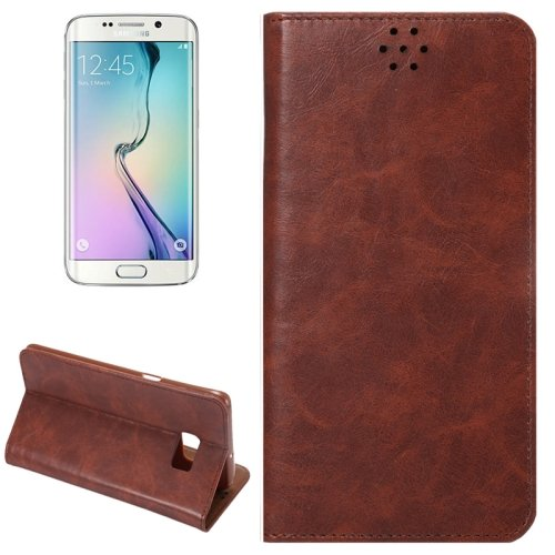 For Galaxy S6 Edge+ Brown Crazy Horse Leather Case with Card Slot & Holder