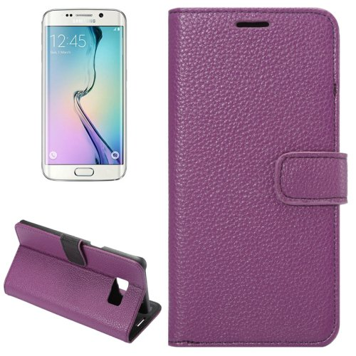 For Galaxy S6 Edge+ Purple Litchi Leather Case with Wallet, Card Slots & Holder