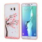 For Galaxy S6 Edge+ Cherry Blossom Flower Pattern Plastic Protective Case 6