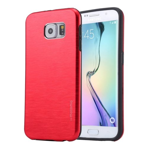 For Galaxy S6 Edge+ Red MOTOMO Brushed Texture Metal + TPU Case