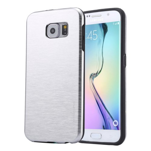 For Galaxy S6 Edge+ Silver MOTOMO Brushed Texture Metal + TPU Case