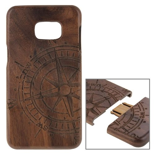 For Galaxy S6 Edge+ Compass Pattern Separable Wooden Case