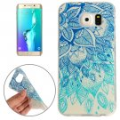 For Galaxy S6 Edge+ Blue Leaves Pattern TPU Protective Case