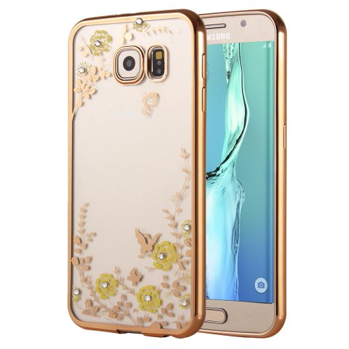 For Galaxy S6 Edge+ Flowers Patterns Electroplating Soft TPU Cover Case 4