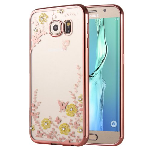 For Galaxy S6 Edge+ Flowers Patterns Electroplating Soft TPU Cover Case 5