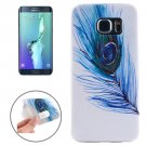 For Galaxy S6 Edge+ Ultrathin Blue Feather Pattern TPU Protective Case