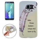 For Galaxy S6 Edge+ Ultrathin Feather and Words Pattern TPU Protective Case