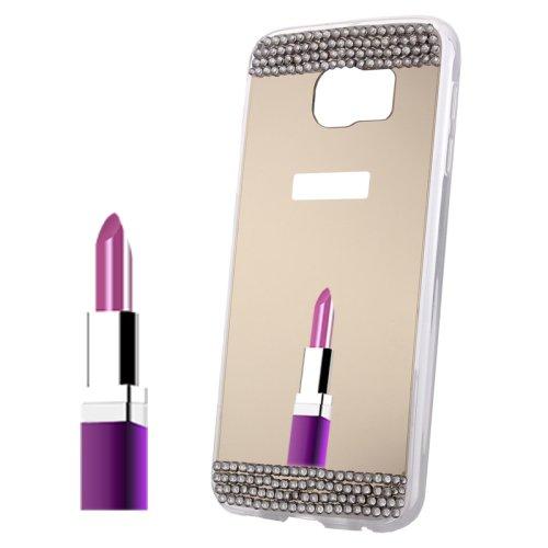 For Galaxy S6 Edge+ Gold Diamond Encrusted Mirror TPU Protective Case