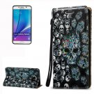For Galaxy Note 5 Skull Pattern Leather Case with Holder, Card Slots & Lanyard