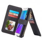 For Galaxy Note 5 Black Leather Billfold with Detachable Magnetic PC Case