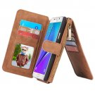 For Galaxy Note 5 Brown Leather Billfold with Detachable Magnetic PC Case