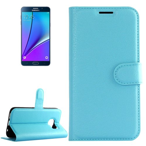 For Galaxy Note 5 Blue Litchi Leather Case with Holder, Card Slots & Wallet