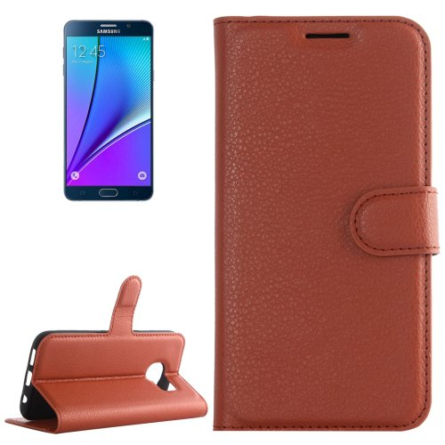 For Galaxy Note 5 Brown Litchi Leather Case with Holder, Card Slots & Wallet