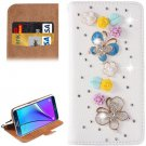 For Galaxy Note 5 Butterfly Diamond Leather Case with Holder & Card Slots
