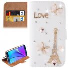 For Galaxy Note 5 Love Diamond Leather Case with Holder & Card Slots