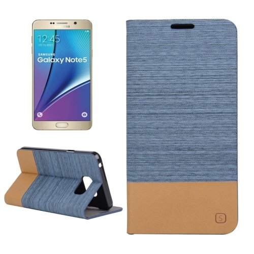 For Galaxy Note 5 Blue Canvas Leather Case with Holder & Card Slots