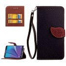 For Galaxy Note 5 Black Leaf Leather Case with Card Slots, Holder & Wallet