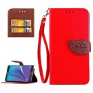 For Galaxy Note 5 Red Leaf Leather Case with Card Slots, Holder & Wallet