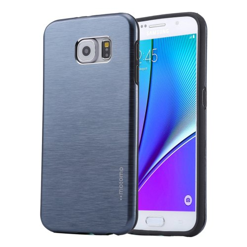 For Galaxy Note 5 Dark Blue Motomo Brushed Texture Metal + TPU Protective Case