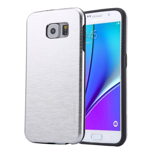 For Galaxy Note 5 Silver Motomo Brushed Texture Metal + TPU Protective Case